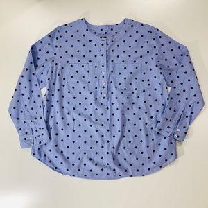 Talbots Blue Black Polka Dot Top Size 1 X